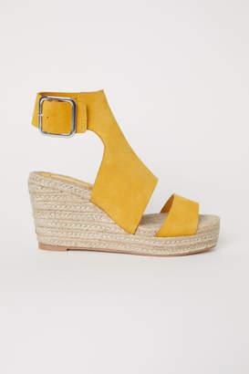 H&M Wedge-heel Sandals - Yellow