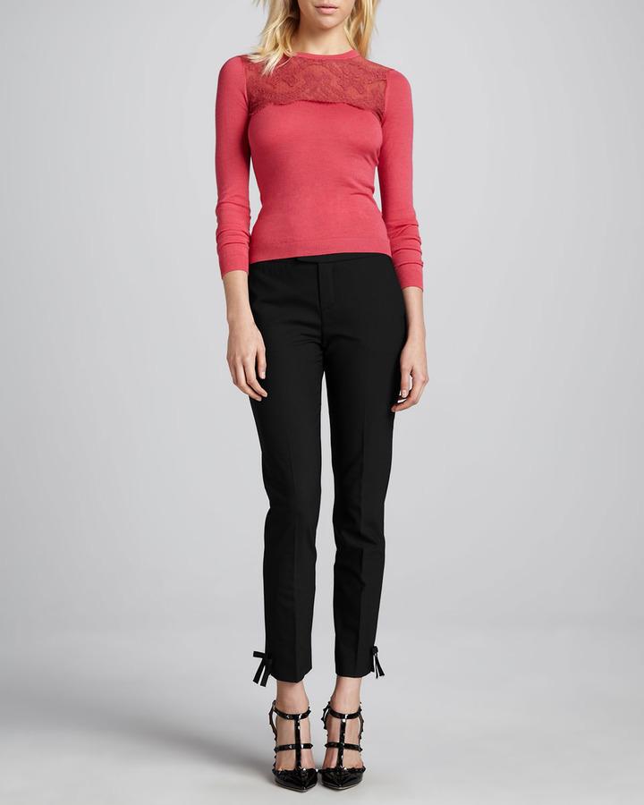 RED Valentino Lace-Peplum Cardigan, Black