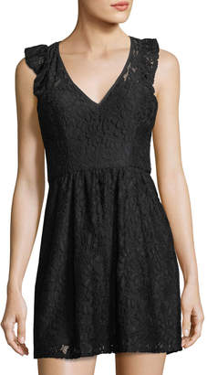 BCBGeneration Flutter-Sleeve V-Neck Lace Dress