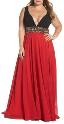 Mac Duggal Embellished Waist Plunge Gown