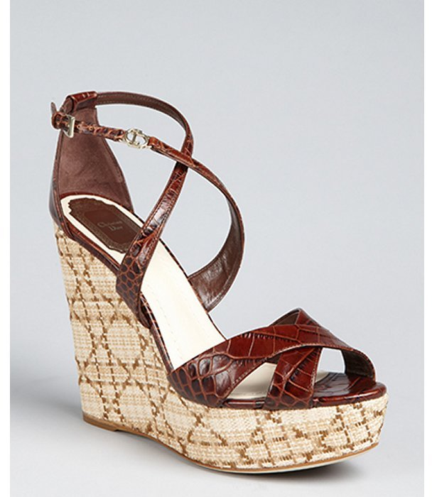 Christian Dior brown croc embossed leather crisscross 'Escapade' wedge heels