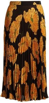 Gucci Poppy-print pleated midi skirt