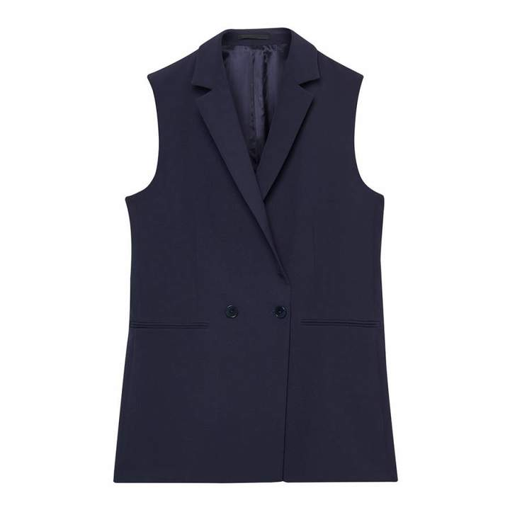 Blue Double Breasted Sleeveless Blazer