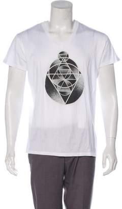 Christian Dior Geometric Print V-Neck T-Shirt