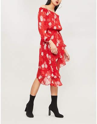 The Kooples Floral-print off-the-shoulder silk dress