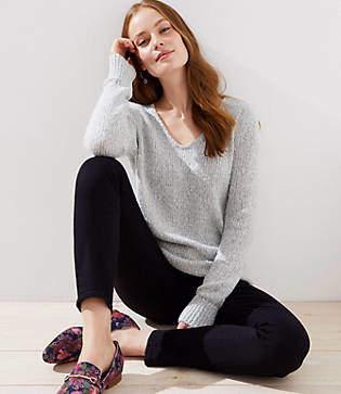 LOFT Marled V-Neck Sweater