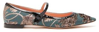 Rochas Floral Brocade Point Toe Flats - Womens - Green Gold
