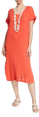 Eileen Fisher V-Neck Short-Sleeve Lofty Organic Cotton Midi Dress