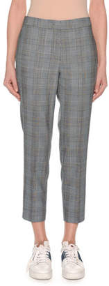 Agnona Glen-Plaid Straight-Leg Cropped Pants