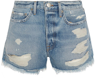 FRAME - Rigid Re-release Le Original Distressed Denim Shorts - Mid denim $235 thestylecure.com