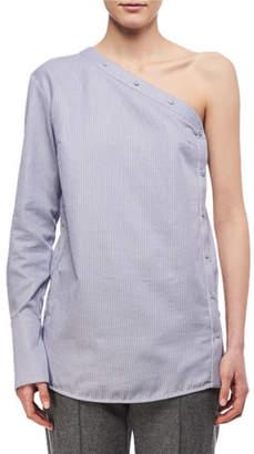 Victoria Beckham Victoria One-Shoulder Striped Button Top