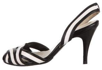 Chanel Striped Slingback Pumps