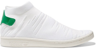 adidas Originals - Stan Smith Shock Leather-trimmed Primeknit Sneakers - White $120 thestylecure.com