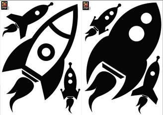 Plage 157161 Children's Rocket Wall Decoration for Switch 2 sheets Vinyl 29.7 x 0.1 x 21 cm Black