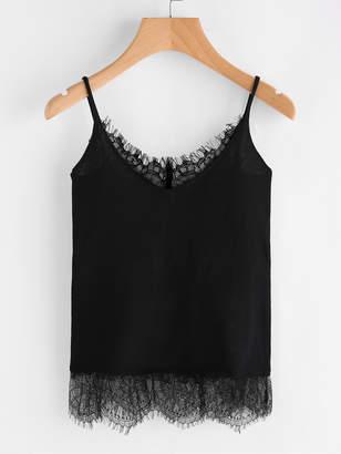 Shein Eyelash Lace Trim Jersey Cami Top