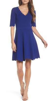 Eliza J Scallop Fit & Flare Dress