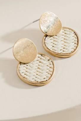 francesca's Macy Rattan Circle Drop Earrings - Ivory