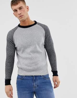 Ringspun waffle raglan textured sweater