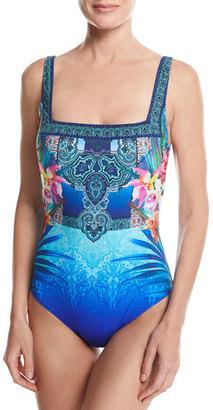 Gottex Oahu Square Neck One-Piece Swimsuit, Blue Multicolor $188 thestylecure.com