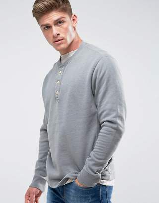 Abercrombie & Fitch Henley Sweatshirt White Label in Gray Marl