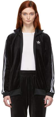 adidas Black Velour Cozy Track Jacket