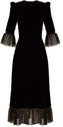 The Vampire's Wife - Falconetti Fil Coupe Tulle Trimmed Velvet Dress - Womens - Black Gold