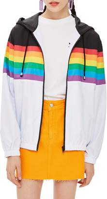 Topshop Rainbow Windbreaker