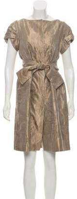 Alberta Ferretti Silk Brocade Knee-Length Dress Champagne Silk Brocade Knee-Length Dress