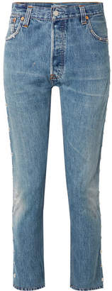 RE/DONE + Levi's Distressed Studded High-rise Skinny Jeans - Mid denim