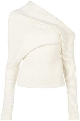 Roberto Cavalli ribbed off shoulder sweater