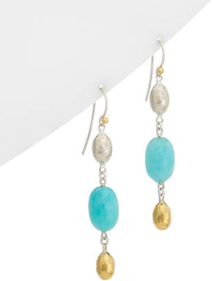 Gurhan Cocoon 24K Yellow Gold Over Silver Amazonite Drop Earrings