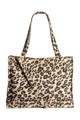 H&M Cotton Canvas Changing Bag - Beige/leopard print - Kids