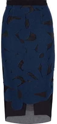 Roland Mouret Arreton Stretch Knit-Paneled Cotton-Blend Fil Coupé Skirt