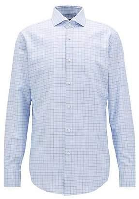 HUGO BOSS Slim-fit shirt in plain-check cotton twill