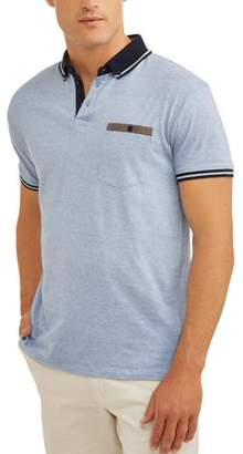 SWISS CROSS Big Men's Pin Stripe Jersey Polo with Pocket