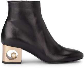 Tiffany & Co. Coliac Black Leather Ankle Boots With Pearl