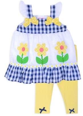 Nannette Baby Toddler Girl Gingham Top & Leggings, 2Pc Outfit Set