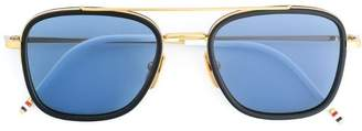 Thom Browne Eyewear Navy & 18k Gold Sunglasses