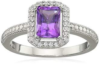 Sterling Silver Genuine African and Cubic Zirconia Halo Emerald Cut Ring