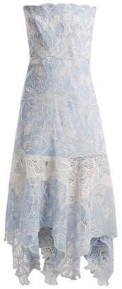 Jonathan Simkhai Strapless Floral Embroidered Lace Dress - Womens - Light Blue