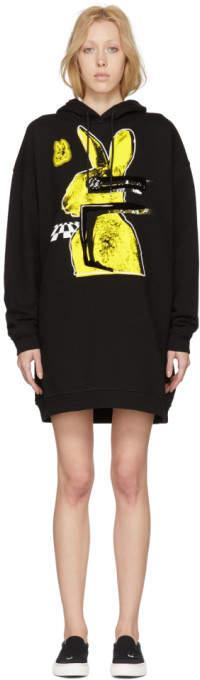 Black Bunny Cut Supersized Hoodie Dress
