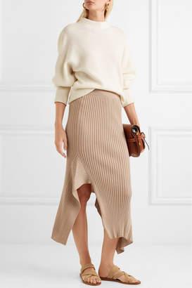Stella McCartney Asymmetric Ribbed Wool And Silk-blend Midi Skirt - Camel