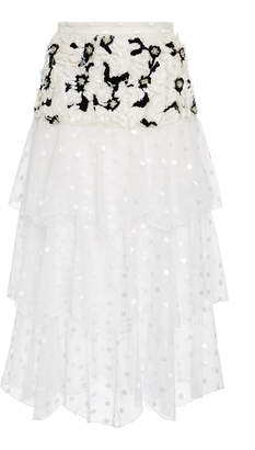 Rodarte Exclusive Embellished Tiered Tulle Maxi Skirt
