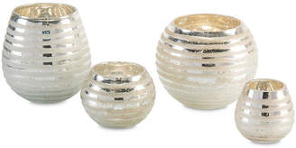 John-Richard Collection Set of 4 Ribbon-Etched Round Vases - Silver