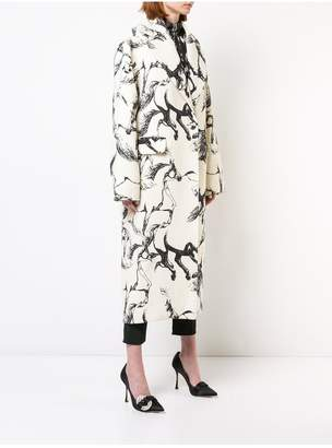 ADAM by Adam Lippes Printed Wool Cocoon Coat