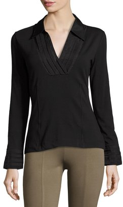 NIC+ZOE Pleated V-Neck Top, Black $79 thestylecure.com