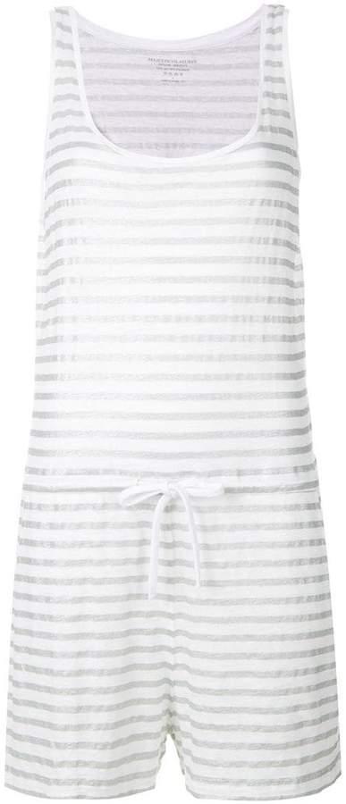 striped drawstring waist playsuit