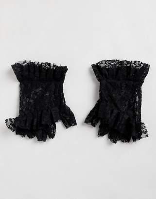 Asos DESIGN lace ruffle fingerless gloves