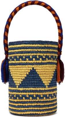 Yosuzi Akua Tasseled Woven Toquilla Straw Bucket Bag