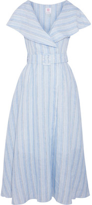Gül Hürgel - Belted Striped Linen Midi Dress - Blue $795 thestylecure.com